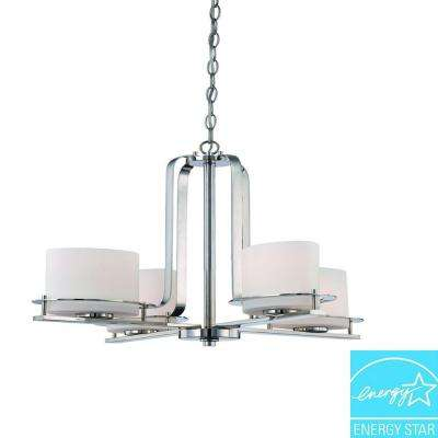 4-Light Polished Nickel Chandelier with Oval Frosted Glass Shade