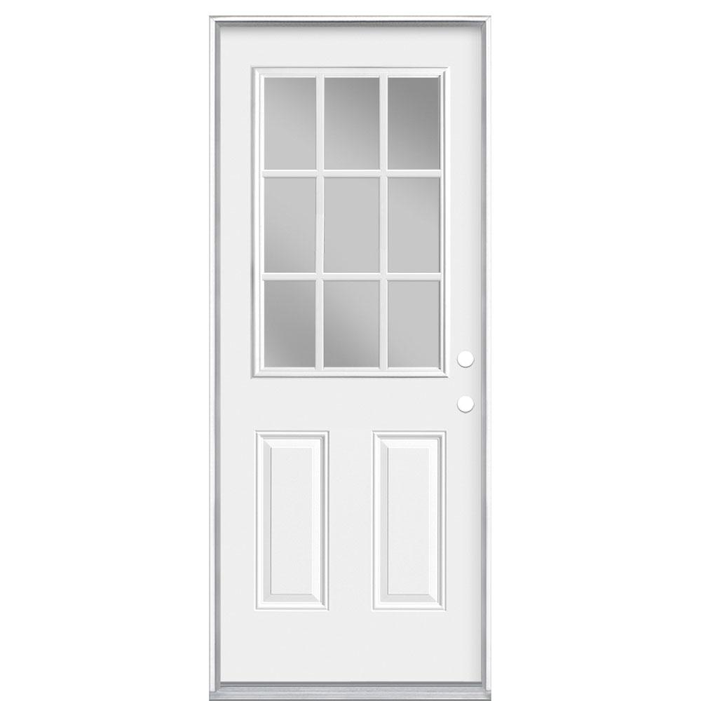 Masonite 32 in. x 80 in. 9 Lite Left Hand Inswing Primed Steel Prehung Front Exterior Door No Brickmold
