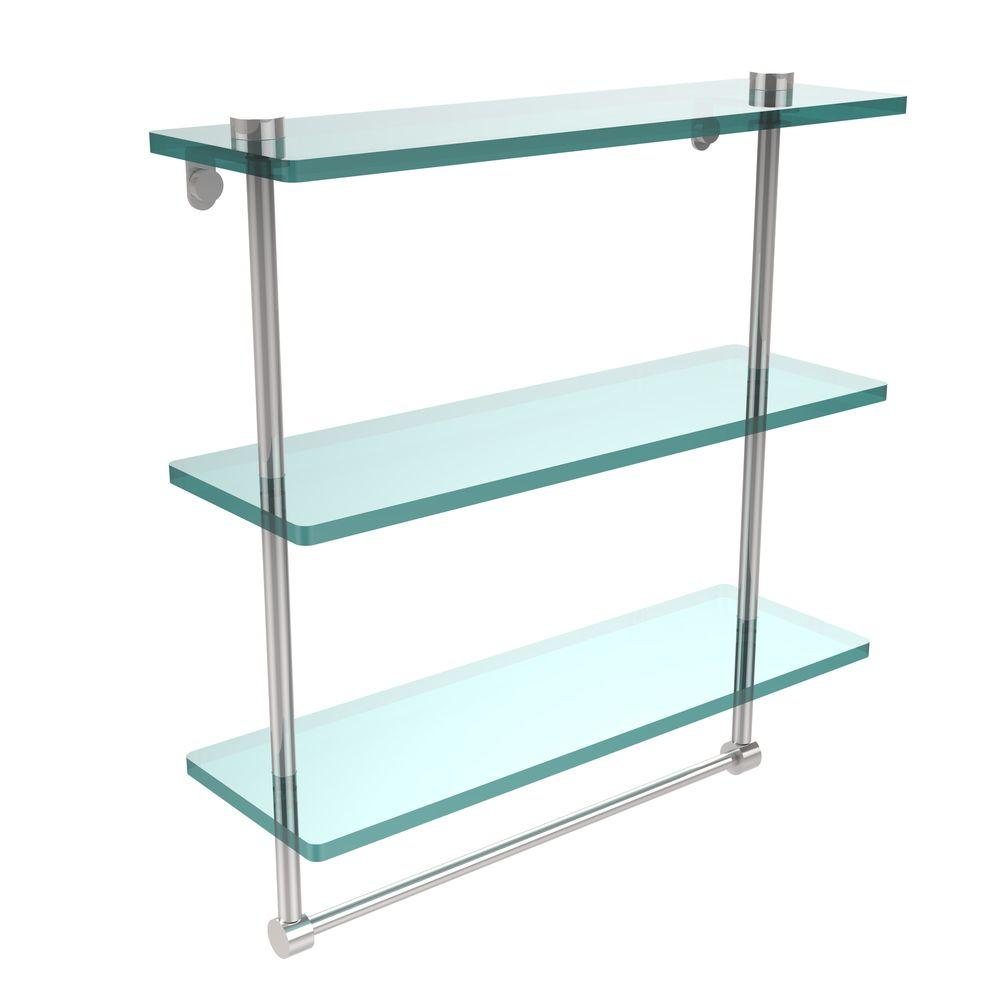 Allied Brass 16 in. L  x 18 in. H  x 5 in. W 3-Tier Clear Glass Bathroom Shelf with Towel Bar in Polished Chrome
