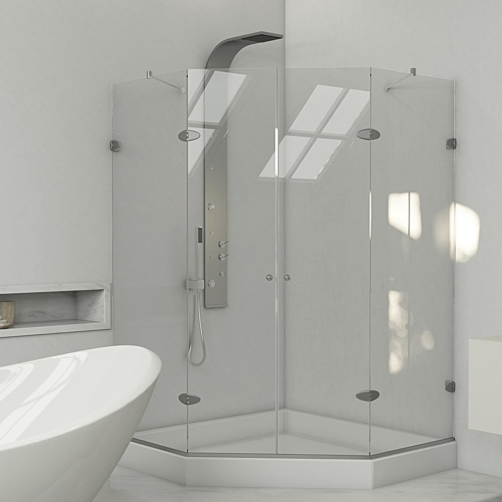 VIGO Gemini 47.625 in. x 78.75 in. Frameless Neo-Angle Shower Enclosure in Chrome with Clear Glass with Base in White