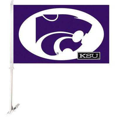 NCAA 11 in. x 18 in. Kansas State 2-Sided Car Flag with 1-1/2 ft. Plastic Flagpole (Set of 2)