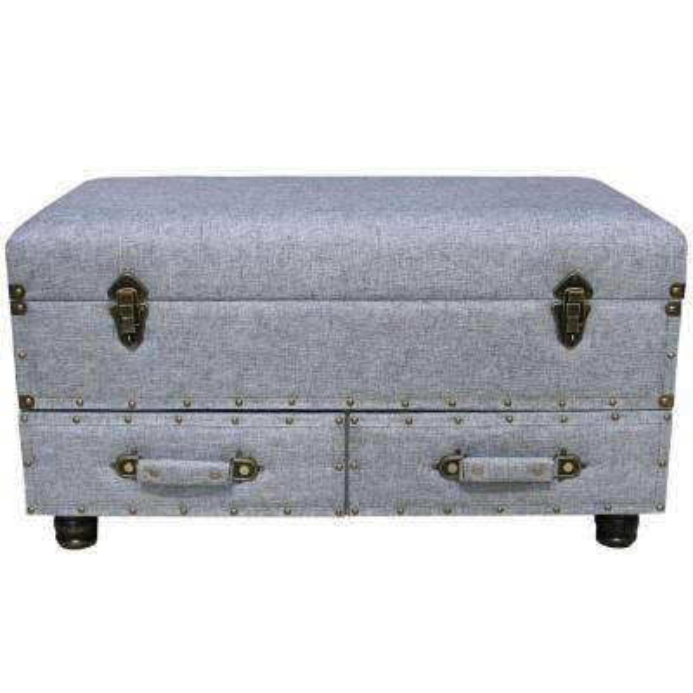 Gray Linen Layton Storage Trunk