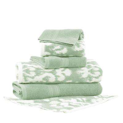 Ikat Damask 6-Piece Cotton Bath Towel Set in Sage