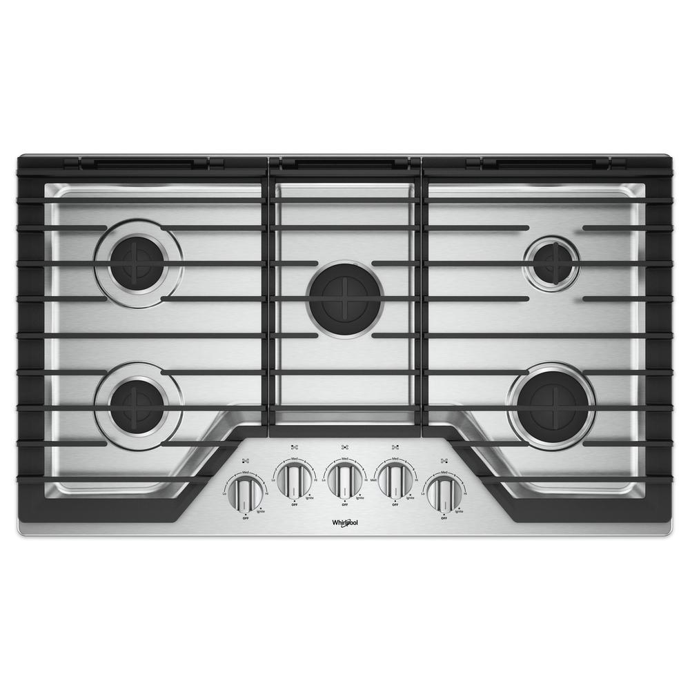 whirlpool 36 in gas cooktop in stainless steel with 5 burners and ez 2 lift hinged cast iron. Black Bedroom Furniture Sets. Home Design Ideas