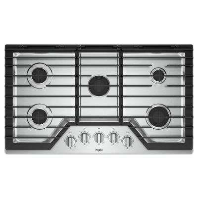 36 in. Gas Cooktop in Stainless Steel with 5 Burners and EZ-2-LIFT Hinged Cast-Iron Grates