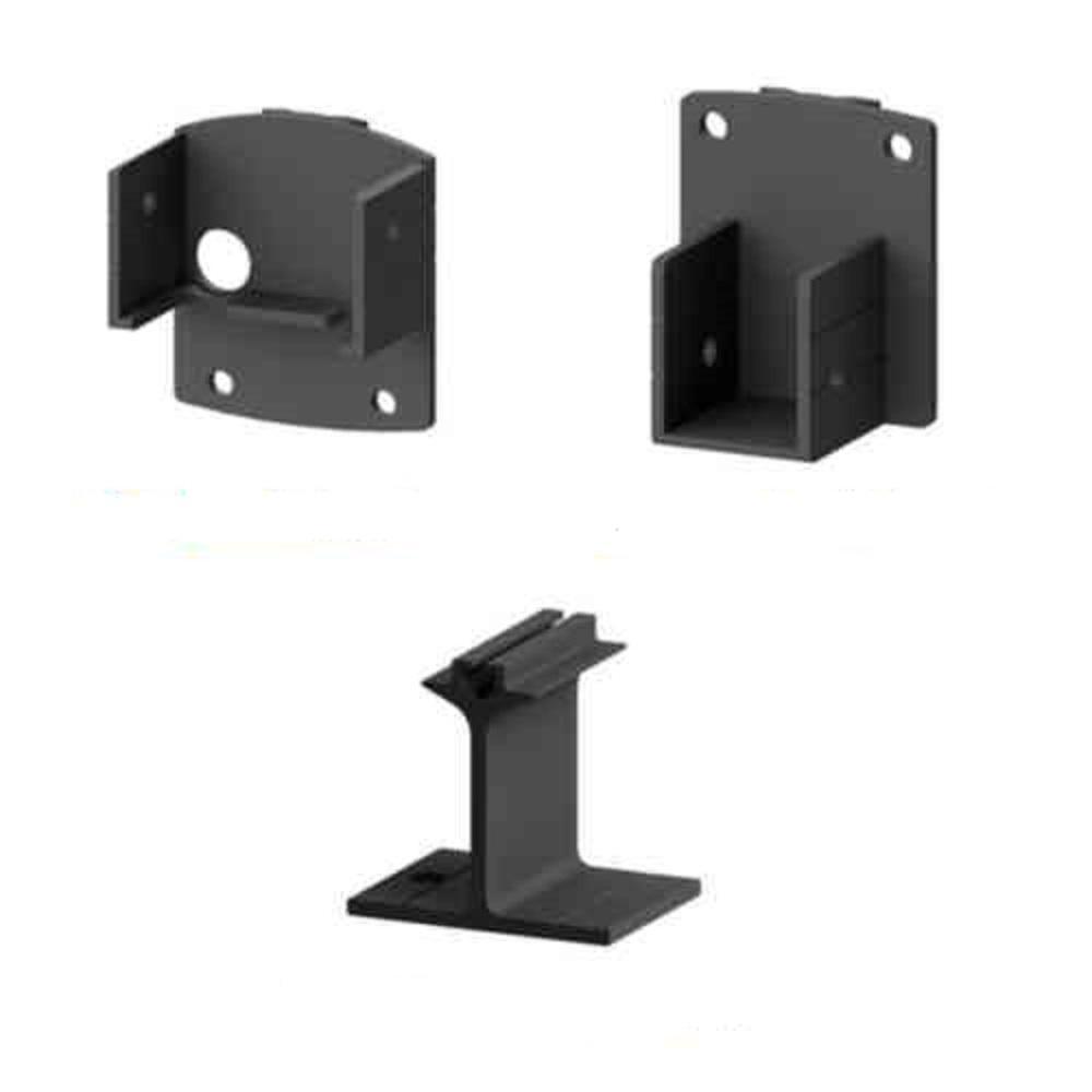 AquatinePLUS 2 in. x 3 in. x 5 in. Black Aluminum Pool Fence Picket Bracket Kit