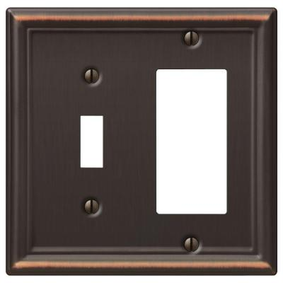 Ascher 2 Gang 1-Toggle and 1-Rocker Steel Wall Plate - Aged Bronze