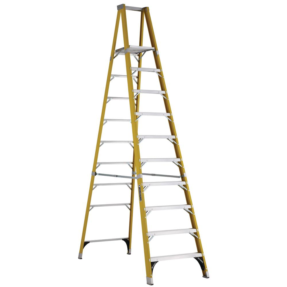 10 ft. Fiberglass Platform Step Ladder with 375 lbs. Load Capacity
