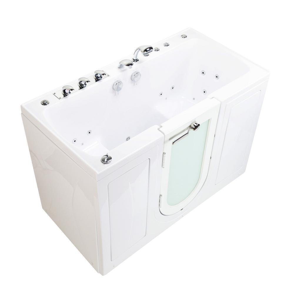 Tub4Two 60 in. Walk-In Whirlpool, Air Bath, MicroBubble Bathtub in White, LHS Outward Door, Fast Fill Faucet, Dual Drain