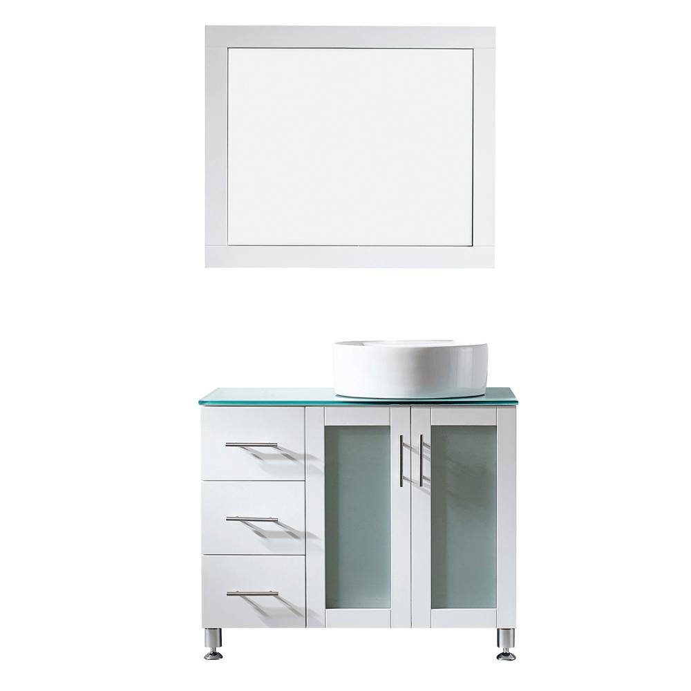 ROSWELL Tuscany 36 in. W x 22 in. D x 30 in. H Vanity in White with Glass Vanity Top in Aqua Green with Basin and Mirror