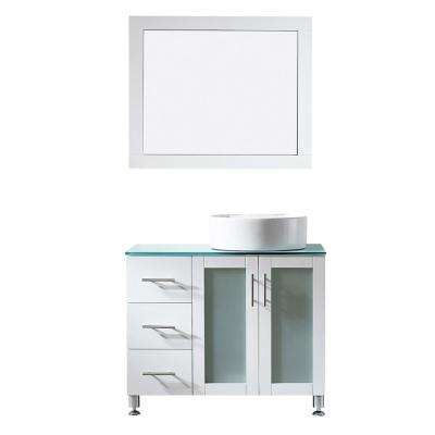 Tuscany 36 in. W x 22 in. D x 30 in. H Vanity in White with Glass Vanity Top in Aqua Green with Basin and Mirror