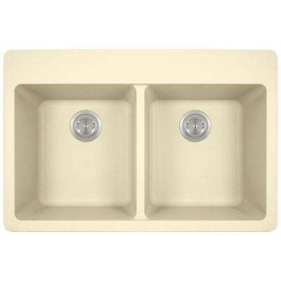 Drop-in Granite Composite 33 in. 4-Hole Equal Double Bowl Kitchen Sink in Beige