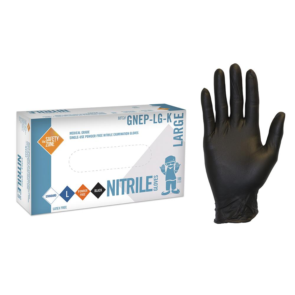 Large Thick Black Nitrile Exam Glove Powder-Free Bulk 1000 (10-Pack of