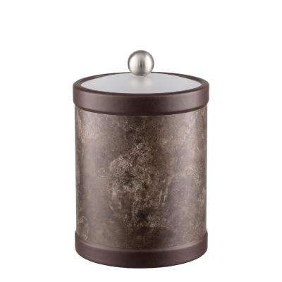 Tunisia Stone 2 Qt. Tall Brown Ice Bucket with Bale handle and Acrylic Lid