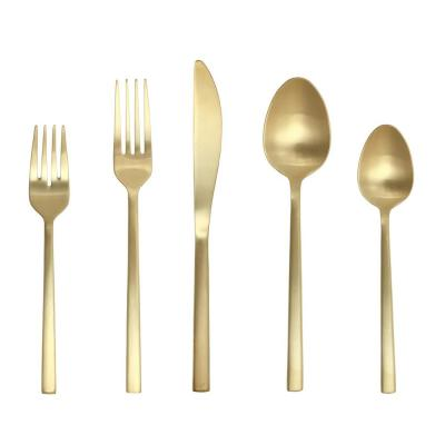 5-Piece SS Titan PVD Arezzo Brushed Gold Place Setting, Boxed (Service for 1)
