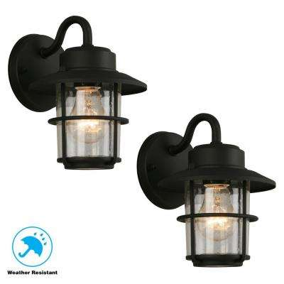 1 Light Black Outdoor Wall Mount Lantern 2 Pack