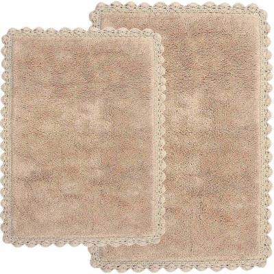 Crochet 21 in. x 34 in. and 17 in. x 24 in. 2-Piece Bath Rug Set in Linen
