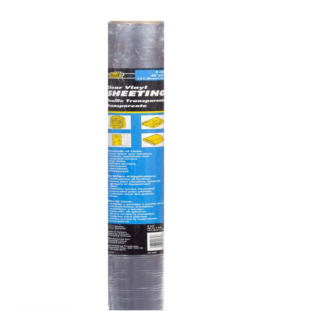 48 in. x 25 ft. 4 Mil Clear Vinyl Sheeting Weatherstrip