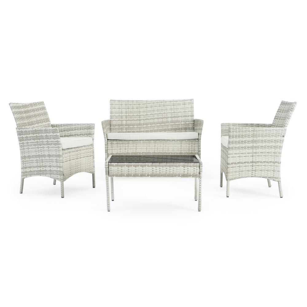 Kanab Grey 4-Piece Wicker Patio Conversation Set with Grey Cushions