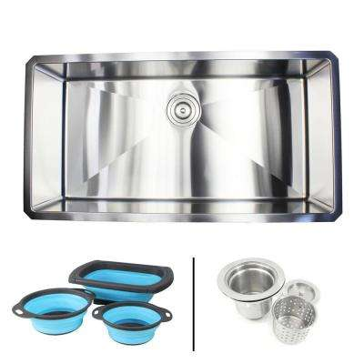 Undermount 16-Gauge Stainless Steel 36 in. x 19 in. x 10 in. Single Bowl Kitchen Sink with Silicone Colanders