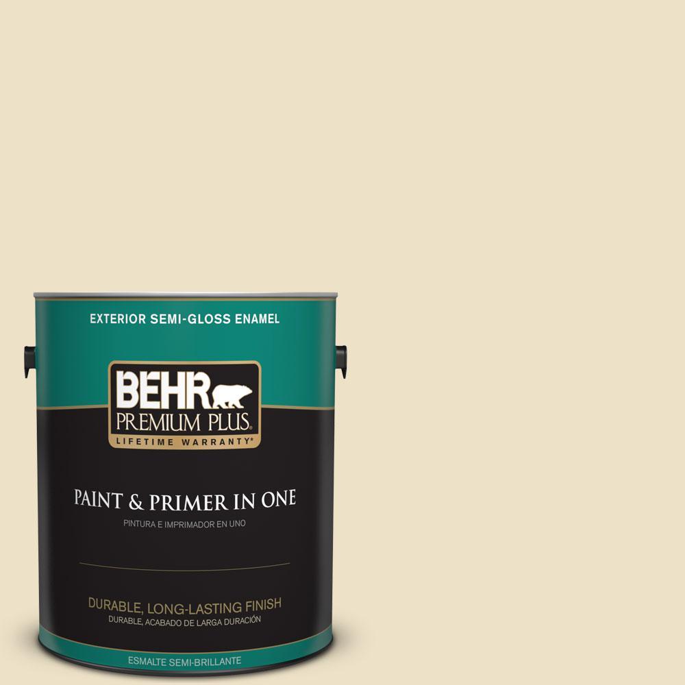 BEHR Premium Plus 1-gal. #370E-2 Cream Silk Semi-Gloss Enamel Exterior Paint