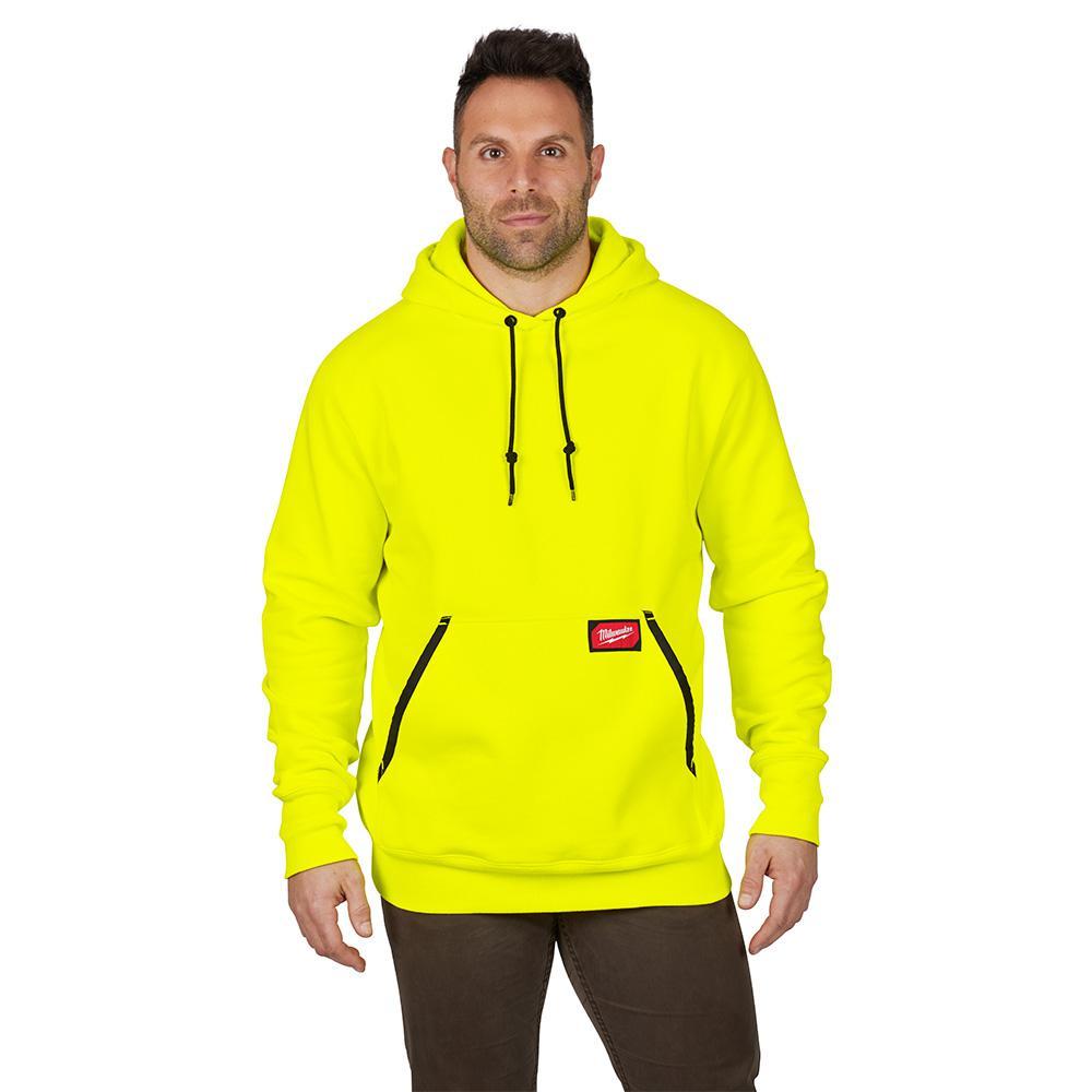 Men's 2XL Hi-Vis Heavy Duty Cotton/Polyester Long-Sleeve Pullover Hoodie