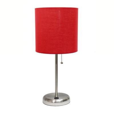 19.5 in. Red and Brushed Steel Stick Lamp with USB Charging Port