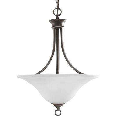 Trinity 3-Light Antique Bronze Foyer Pendant with Etched Glass