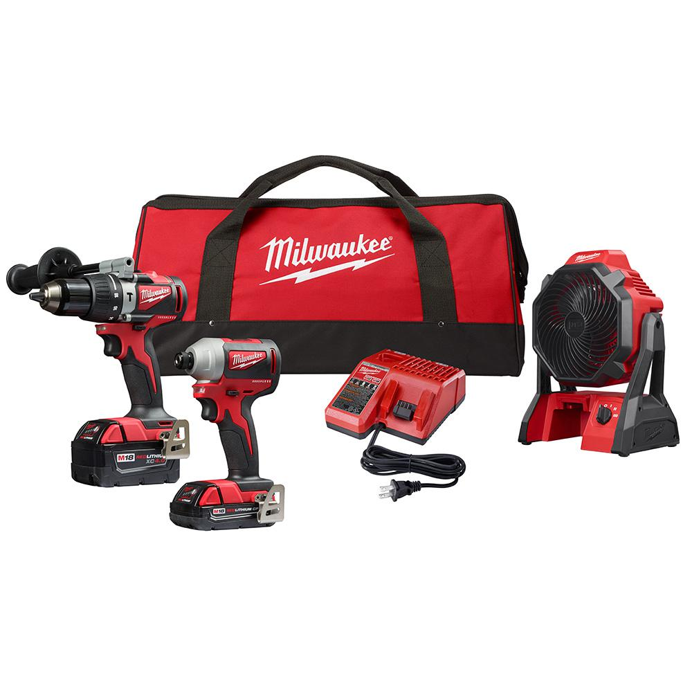 Milwaukee M18 18-Volt Lithium-Ion Brushless Cordless Hammer Drill/Impact Combo Kit (2-Tool) with Cordless Jobsite Fan