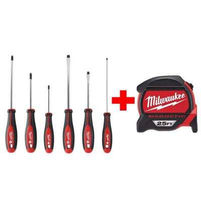 Screwdriver Set (6-Piece) with 25 ft. Premium Magnetic Tape Measure