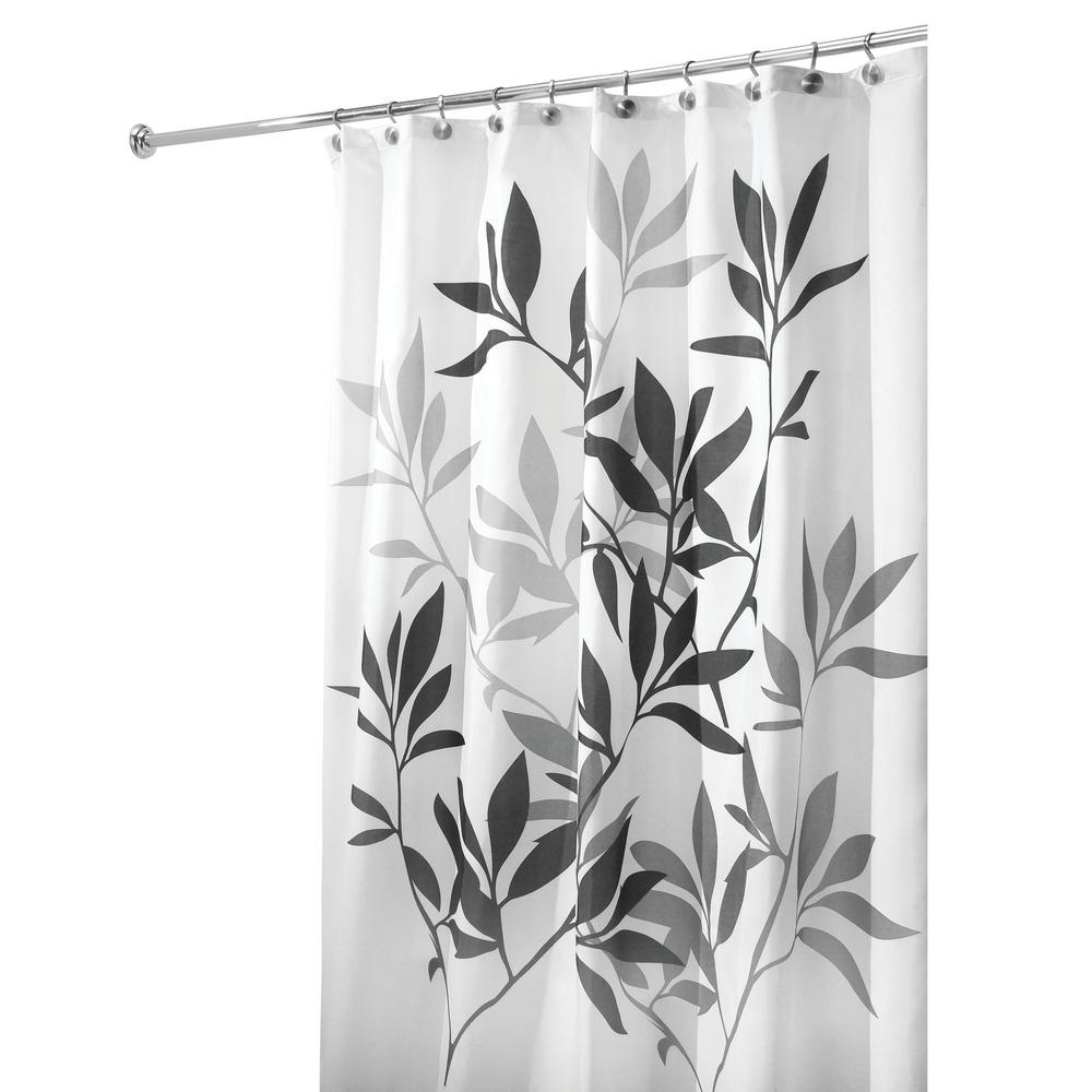 interDesign Leaves Shower Curtain in Black and Gray-35620 - The Home ...