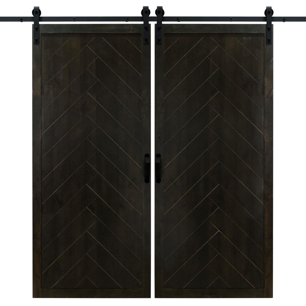 36 in. x 84 in. Herringbone Midnight Black Double Sliding Barn Door with Hardware Kit