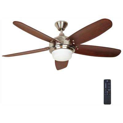 Breezemore 56 in. LED Brushed Nickel Ceiling Fan with Light Kit and Remote Control