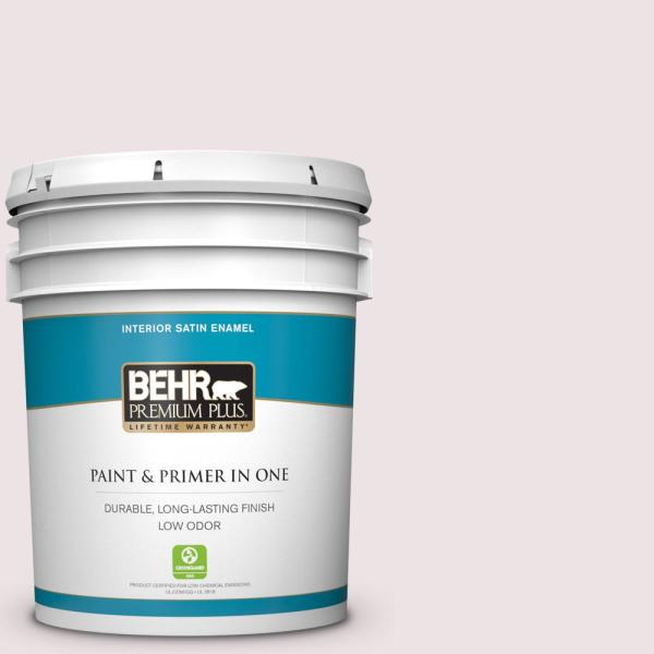 Reviews For Behr Premium Plus 5 Gal 110e 1 Whimsical White Satin Enamel Low Odor Interior Paint And Primer In One 705005 The Home Depot
