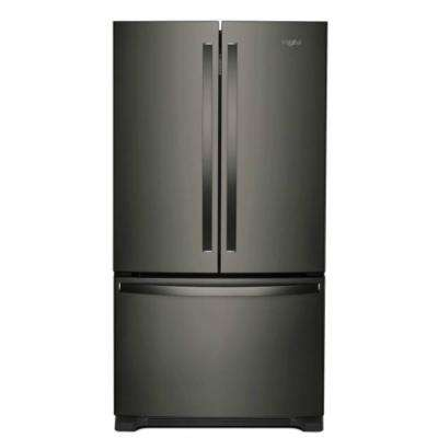 33 in. W 22 cu. ft. French Door Refrigerator in Black Stainless
