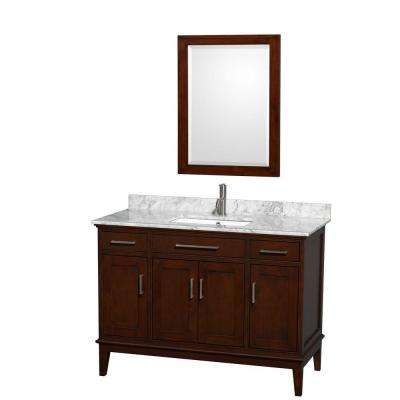 Hatton 48 in. Vanity in Dark Chestnut with Marble Vanity Top in Carrara White, Square Sink and 24 in. Mirror