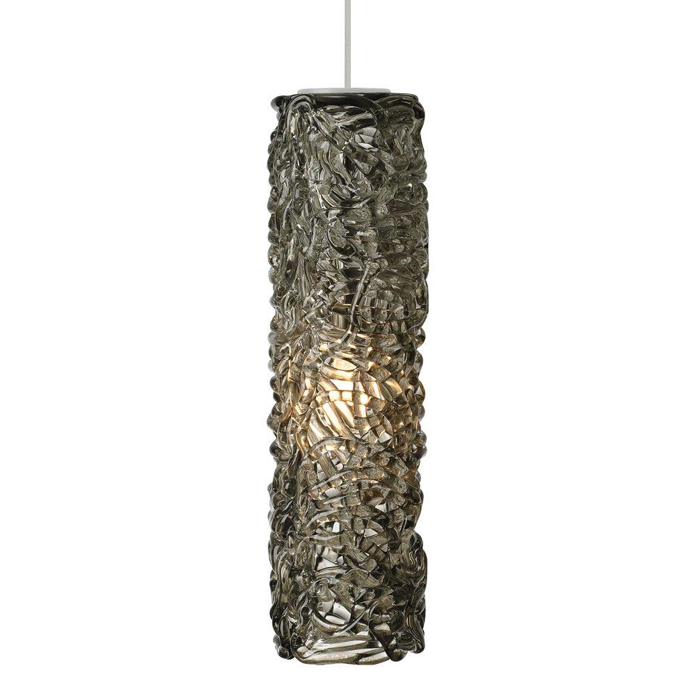 LBL Lighting Mini-Isis Cylinder 1-Light Satin Nickel Xenon Hanging Mini Pendant with Smoke Shade