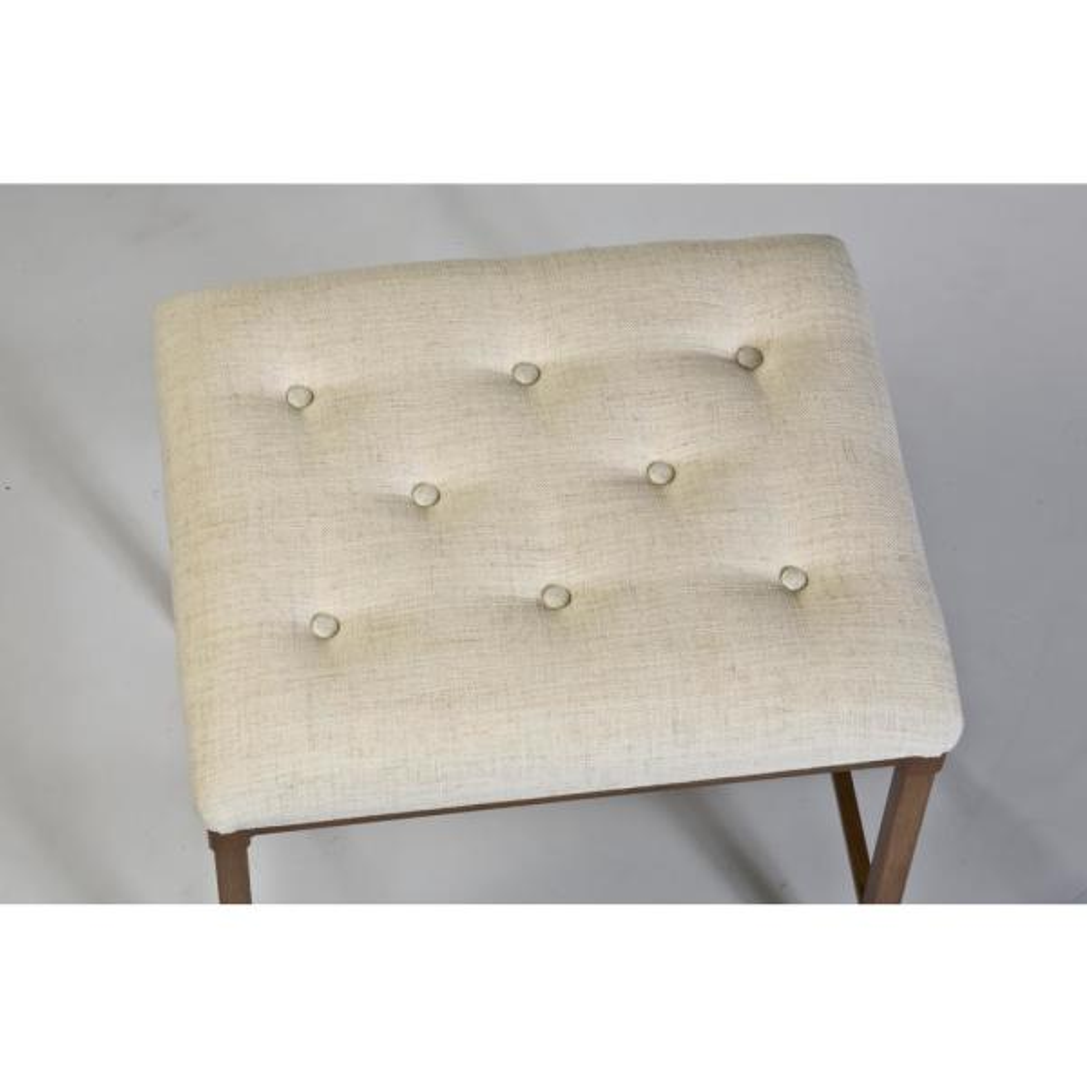 Hillsdale Furniture Katherine 18 in. Cream Fabric Backless Vanity Stool 50961