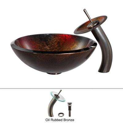 Mercury Glass Vessel Sink in Red/Gold with Waterfall Faucet in Oil Rubbed Bronze