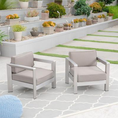 Aviara Silver Arm Aluminum Outdoor Club Lounge Chairs with Khaki Cushion (2-Pack)