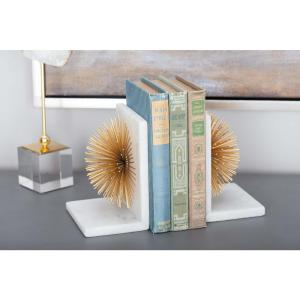 7 in. x 5 in. Gold Metal and Marble Star Bookends