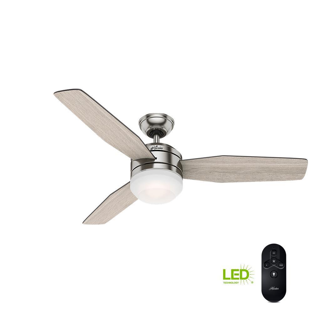 74a5f3ef6ee Hunter Zilker 52 in. LED Indoor Brushed Nickel Ceiling Fan with ...
