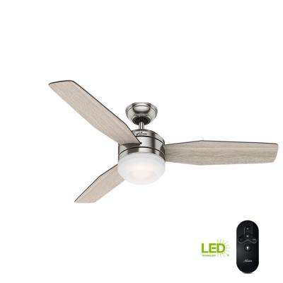 Zilker 52 in. LED Indoor Brushed Nickel Ceiling Fan with Remote Control