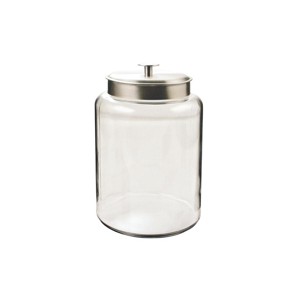 Anchor Hocking 2.5 gal. Montana Jar with Aluminum Cover Generous mouth openings allow for easy access, fitment around the lid allows for a tight storage and the perfect place to store cereals, pastas, flour, sugar, or any of your favorite items. Stylish design makes it hard to keep these jars in the pantry. They look great on the counter.