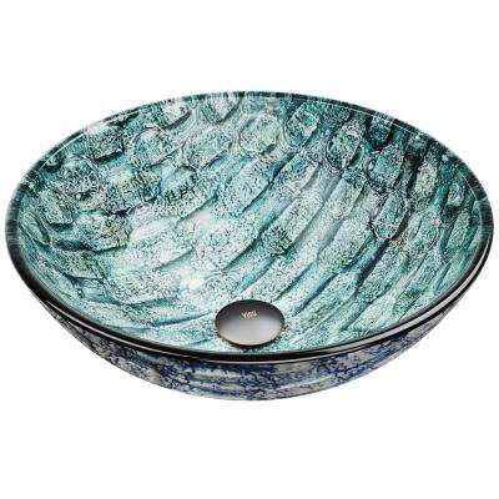 Oceania Handmade Glass Round Vessel Bathroom Sink in Patterned Teal