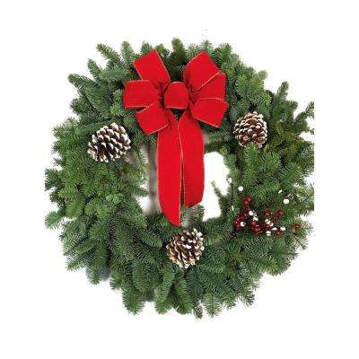 28 in. Fresh Noble Fir Christmas Wreath with Red Bow (2-Pack)