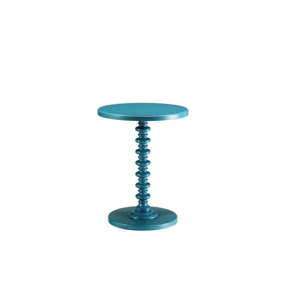 Amelia Teal Solid Wood Leg Side Table