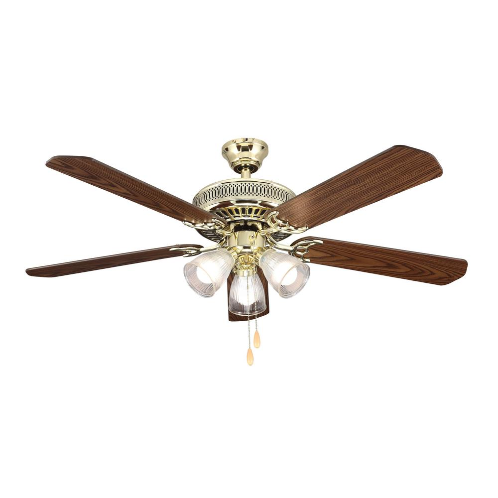Hampton Bay 52 In Landmark Indoor Polished Brass Ceiling Fan With Light Kit