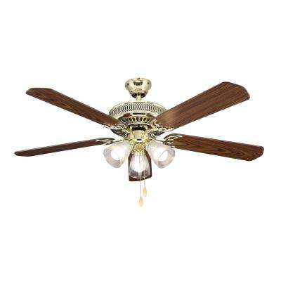 52 in. Landmark Indoor Polished Brass Ceiling Fan with Light Kit