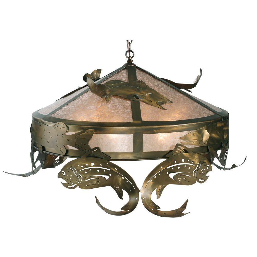 Illumine 6 Light Golf Oblong Pendant Antique Copper Finish Mica Glass